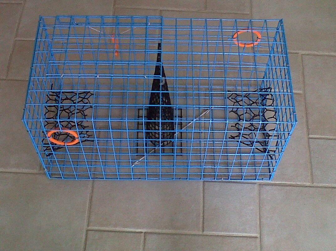 PVC blu Commercial Grade Crab Pot Pot Pot   Trap With 50 Foot Line & arancia 5x11 Float c83dac