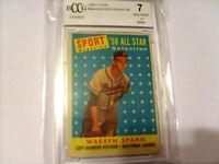 Warren Spahn GRADED CARD!!! Beckett BCCG 7!!! 1958 Topps #494 Braves HOFer!!!