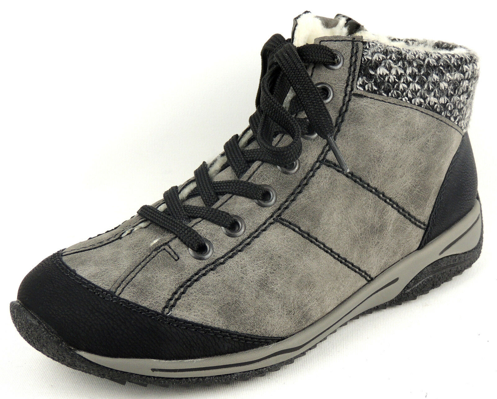 Rieker señora botaie caliente forraje gris cremallera en lugar de depósitos