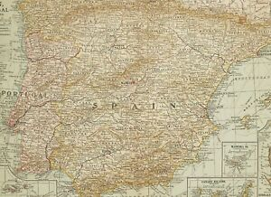 1903 Antik Landkarte Spanien & Portugal Madrid Azores Inseln Andorra Canary