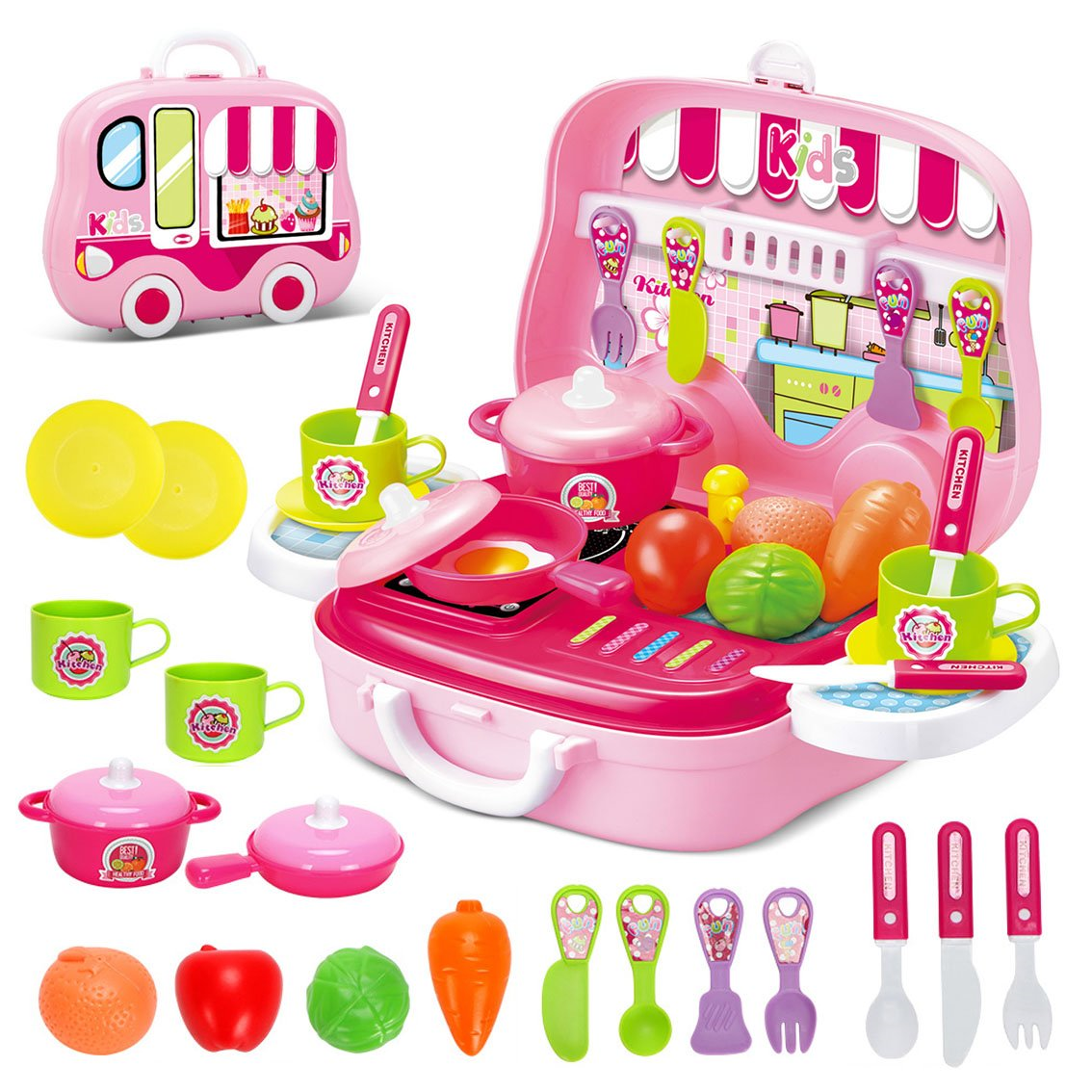 Delex Kids Kitchen Play Set Toy With Food Accessories Carry Case Portable  Role