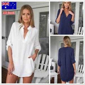 AU-Women-Casual-Down-Collar-Chiffon-T-Shirt-Ladies-V-Neck-long-Sleeve-Blouse-Top