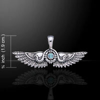 Egyptian Wings Snake .925 Sterling Silver Pendant Choice Of Gemstone Peter Stone