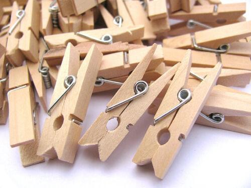 35mm 50 mini en Bois Naturel Craft chevilles vêtements papier photo pendaison clips de printemps