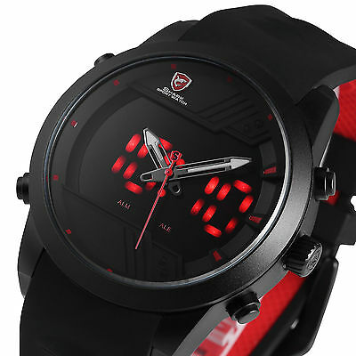 Shark Men's LED Dual Movement Date Day Black Silicone Alarm Sport Wrist Watch