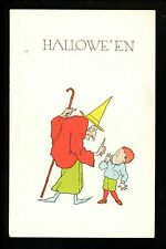 Halloween Postcard Fairman 6929-3 Old time Witch with cane warning little boy