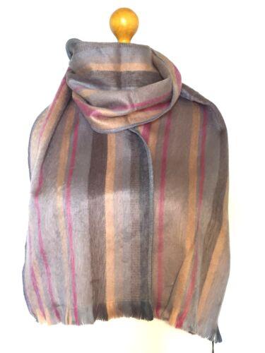 Grey Pink Taupe Stripe ALPACA SCARF Designer Handcrafted Woven UNISEX Men Women