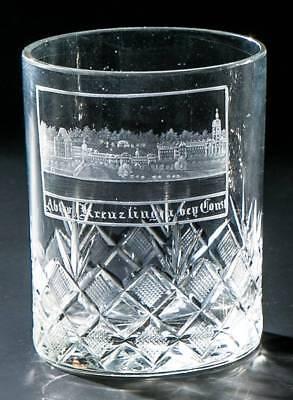 Ansichten-, Andenken-, Zylinderbecherglas M. Ansicht V. Kreuzlingen B. Konstanz. Starke Verpackung