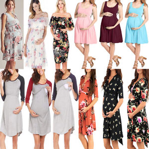 6fa42f650fdc8 Image is loading Pregnant-Summer-Dress-Women-Maternity-Short-Sleeve-Casual-