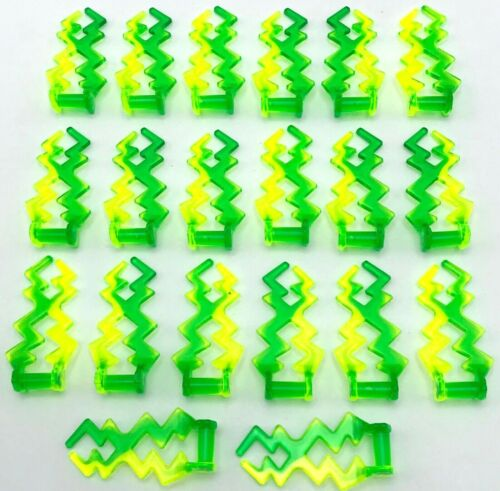 Lego 20 New Trans-Neon Green Wave Angular Electric Zigzag Castle Magic Spark