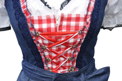Set Mia Dirndl Minidirndl Trachtenkleid Jeans Rot Blau mit Bluse 3 tlg