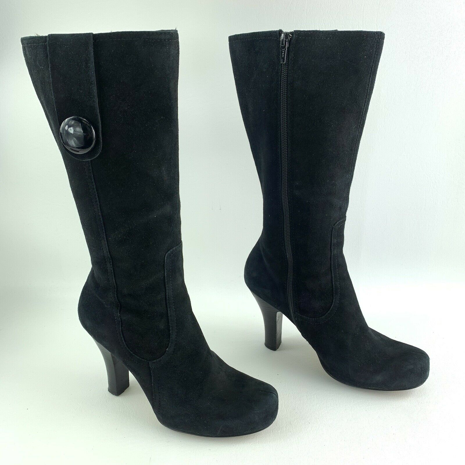 Franco Sarto Size 7 M US Magia Black Suede Boots High Heeled Button Accent