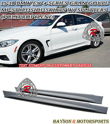 Replacement for 2014-Present BMW F36 4-Series Gran Coupe EOS M-Performance Style Carbon Fiber Rocker Panel Side Skirts Extension Lower Lip