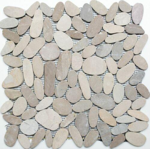 Flußkiesel Steinkiesel hellbeige Kiesel geschnitten Duschboden 30-IN101 Matte