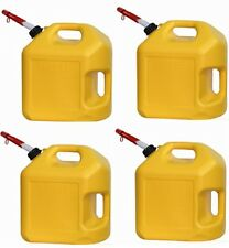 4 ea Midwest 8600 5 Gallon Yellow Poly Diesel Fuel Can / Containers w Spouts