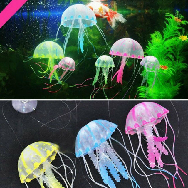 Glowing Effect Artificial Jellyfish Ornament Fish Tank Aquarium Decoration  WP