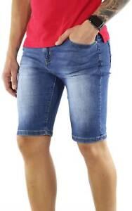 Bermuda-Jeans-Uomo-Blu-Slim-Fit-Pantaloncino-Shorts-Denim-Pantaloni-Corti
