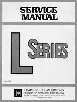 Service Manual for Hammond Organ L100, L series on CD
