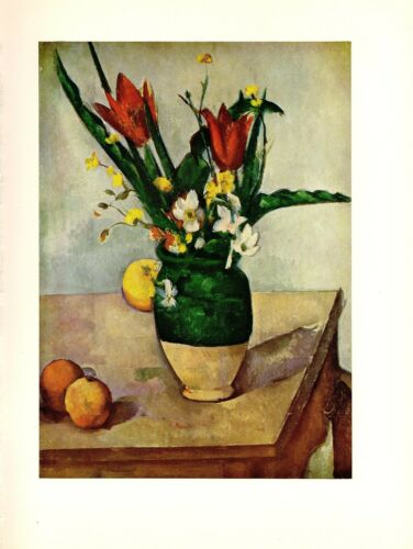 """1963 Vintage CEZANNE /""""TULIPS AND APPLES/"""" COLOR offset Art Print Plate Lithograph"""