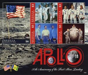 Bequia-Grenadines-St-Vincent-Stamps-2019-MNH-Apollo-11-Moon-Landing-Space-5v-M-S