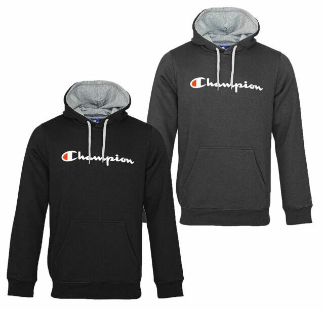 Champion Herren Kapuzenpullover SCHWARZ GRAU Hoodie Hooded Sweatshirt Pullover