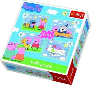 Trefl 4 In 1 35 + 48 + 54 + 70 Piece Kids Peppa Pigs Journey Jigsaw Puzzle NEW