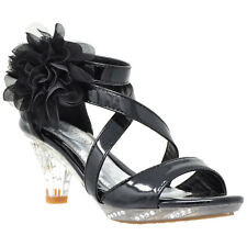 4a08034207fc Girl s Sandals High Heel Dress Rhinestone Strappy Patent Leather Flower Kid  Shoe
