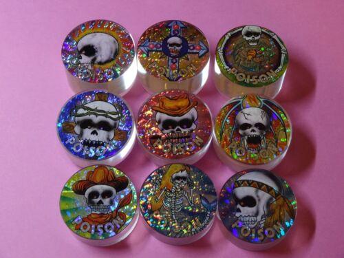 """9 Poison Slammers Variety Skulls Plastic Pogs 3 Each 1//2/"""" 3//4/"""" 1/"""" NICE"""