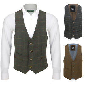 Mens-Vintage-Tweed-Check-Herringbone-Waistcoat-Casual-Retro-Grey-Brown-Green