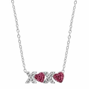 Crystaluxe-039-XO-039-Hugs-amp-Kisses-Necklace-with-Swarovski-Crystals-Sterling-Silver