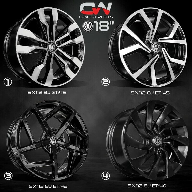 CONCEPT WHEELS 18 INCH 5/112 RIMS NOW IN STOCK FOR MERCEDES ,GOLF 5/6/7 AND AUDI