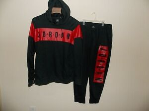 Retro-Nike-Air-Jordan-Fleece-Sweat-Suit-Hoodie-and-Pants-034-2-Pieces-034-Black-Red-X