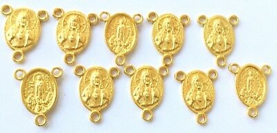 10 Bright Gold plated Virgin Mary Rosary connector center pieces-Rosary Finding