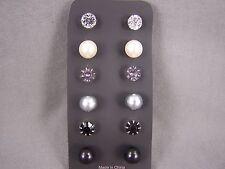 Black Grey set pack 6 pair plastic faux pearl crystal bead stud post earrings