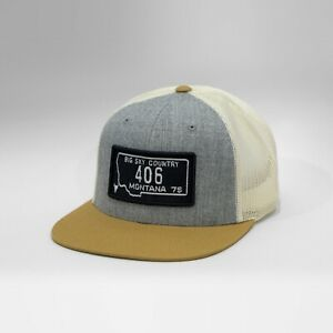 Gasoline Caps™ Montana License Plate Baseball Cap Heather Gold Hat Snapback. New