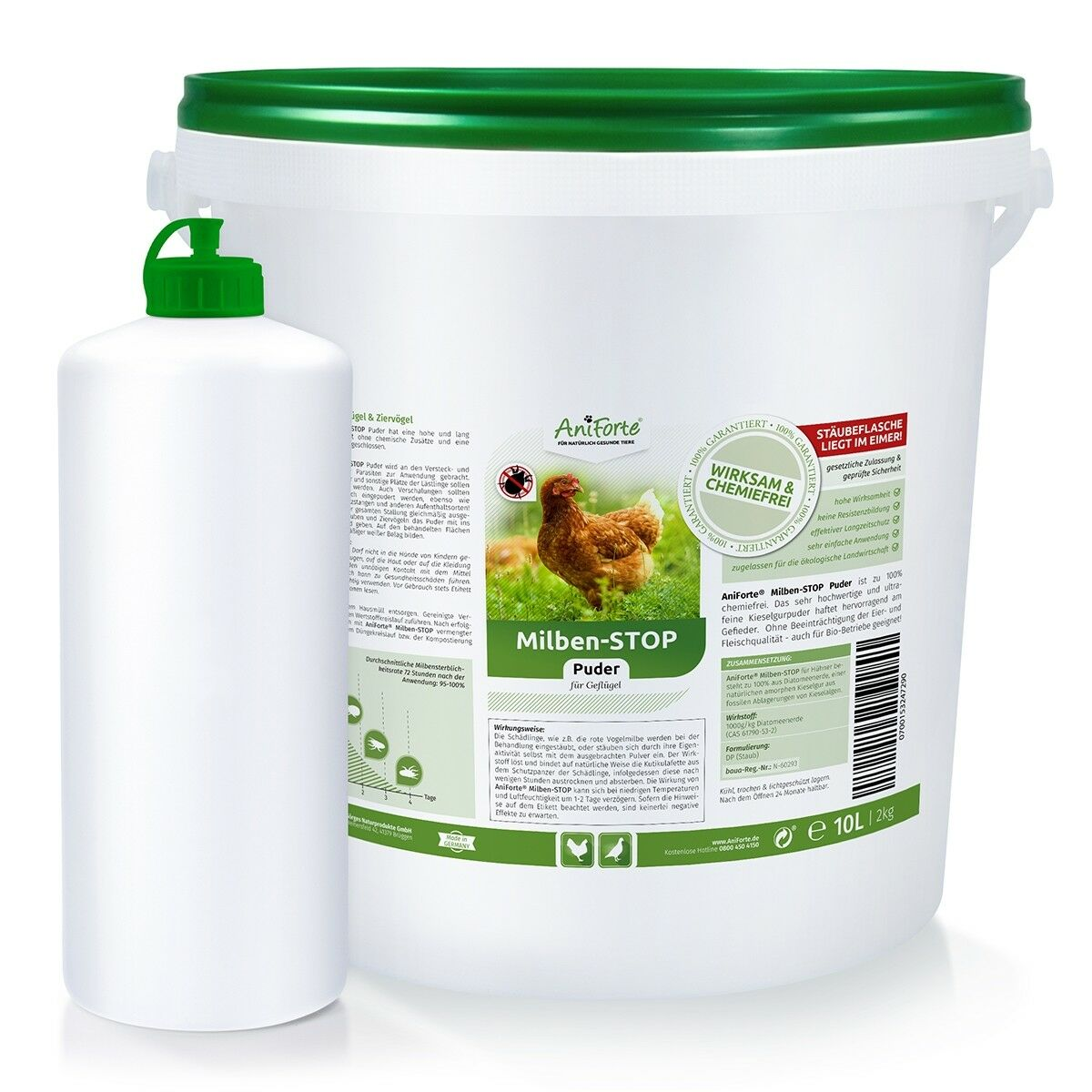AniForte rede Vogelmilbe Milben Stop-Puder 10 Liter  Kieselgur Hühner, Vögel