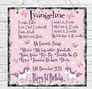Image Is Loading Personalised First 1st Birthday Baby Girl Daughter Sister