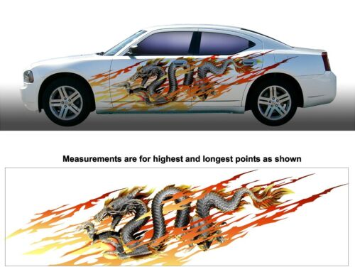 Dragon flames shred motorcycle go kart race car semi trailer vinyl graphic decal