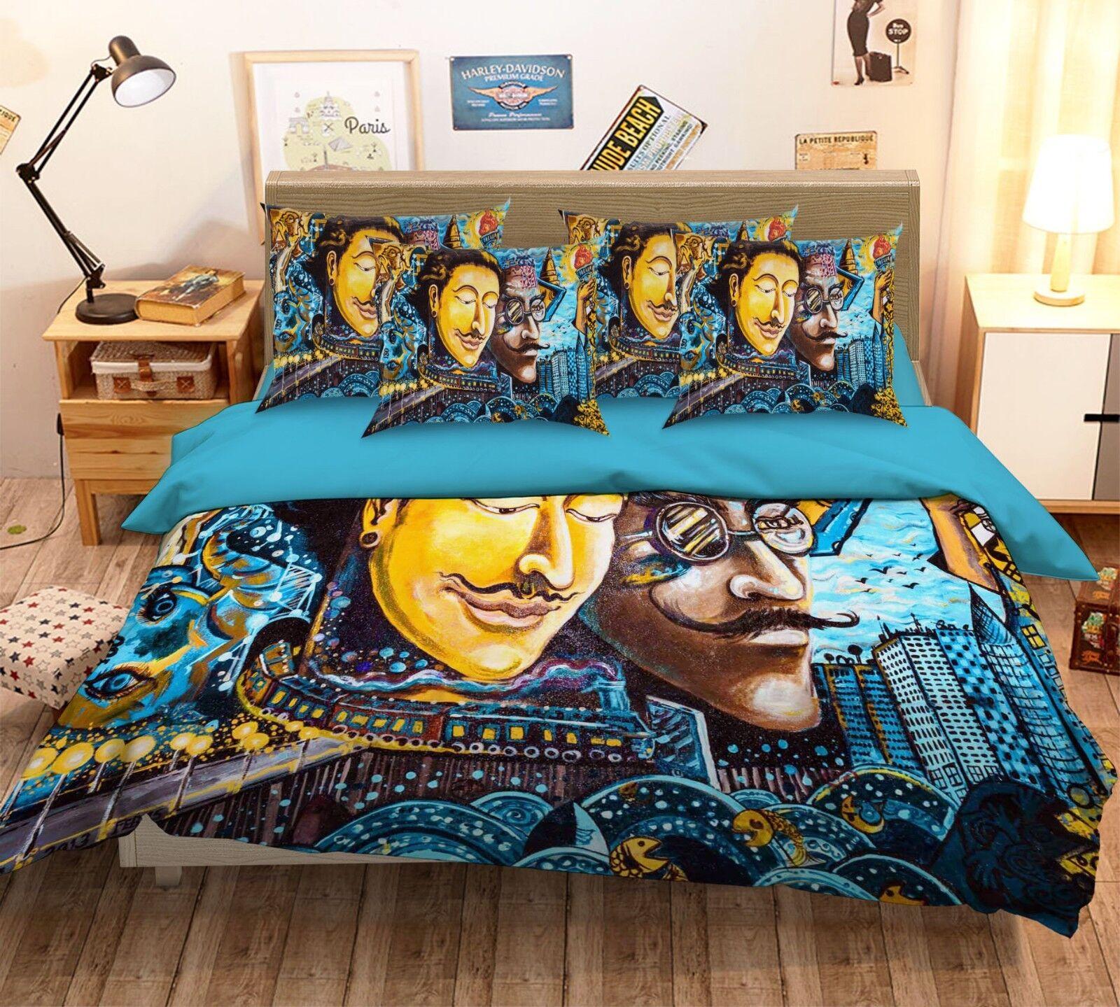 3D Graffiti Man 49 Bed Pillowcases Quilt Duvet Cover Set Single Queen King AU