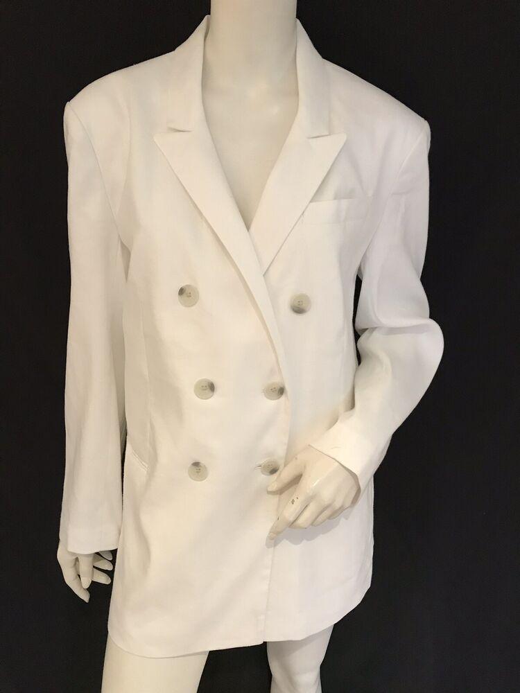 Express X Karla Blanc Mélange De Lin Blazer Jacket Taille M