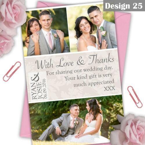 Flat or Folded Full Photo Personalised Photo Wedding Thank You Cards FREE PROOF
