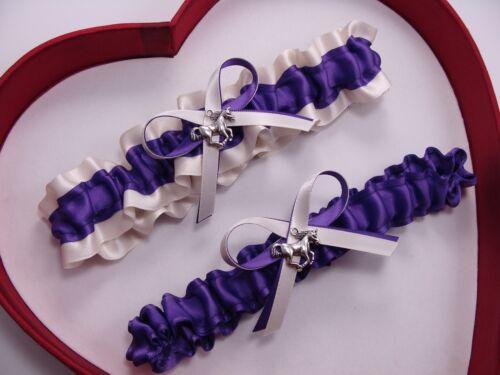 ** NEW Purple Ivory Wedding Prom Garters Western Horse Cowgirl Farm Country