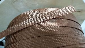 "10 FEET 5//8/"" BRAIDED GROUND STRAP GROUNDING BARE PURE COPPER FLAT BRAID MADE USA"