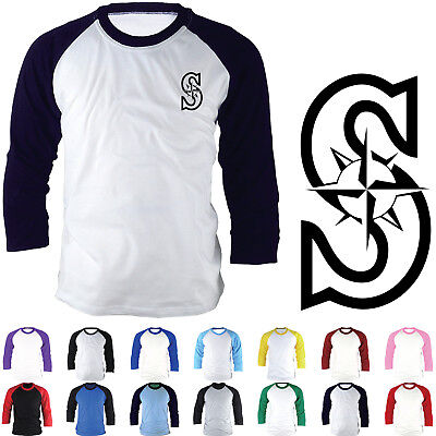 Seattle Mariners Baseball 3//4 Sleeve T-Shirt Jersey Raglan Fashion Team Tee 1018