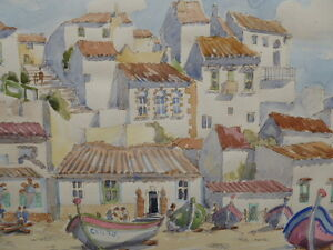 WATERCOLOUR-PORTUGAL-LISTED-SCOTTISH-ARTIST-SYDNEY-ARROBUS-FREE-SHIPPING-ENGLAND