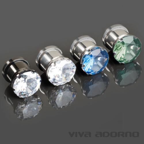 3-12mm Flesh Tunnel Plug Steel Zirconia Crystal Bling Rhinestone St3a