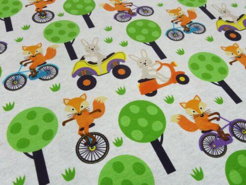 Tela de algodón Jersey zorros liebres árboles gris naranja verde niños sustancia
