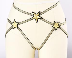 Sexy Dorati Fascino Mutande Cinghie Harness Slip Elastici Originale Stelle wRSqv