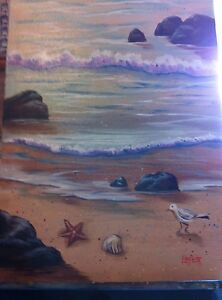 12 x 16 acrylic and oil painting of beach scene on canvas board ebay