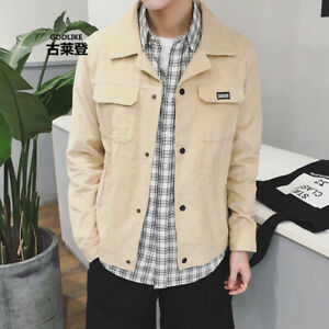 Vintage-Men-039-s-Corduroy-Coat-Casual-Pocket-Jacket-Button-Loose-Short-Coat-Outwear